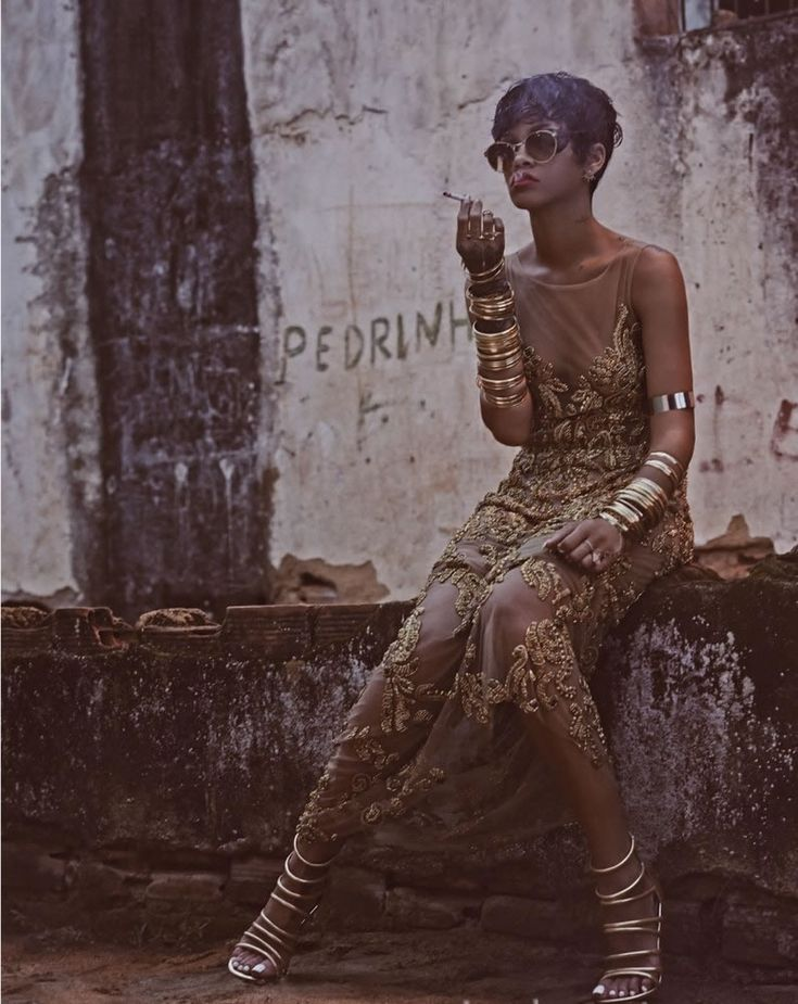 Rihanna in Vogue Brazil May 2014 wearing Linda Farrow sunglasses, Patricia Bonaldi gown, Schutz gold sandals