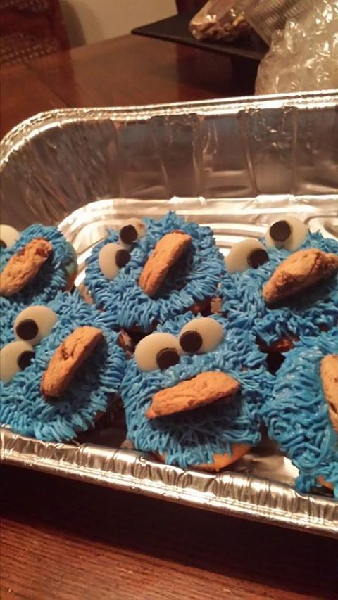 Cookie Monster cupcakes I made for a friend's daughter's birthday.
