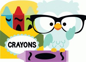 Silhouette Design Store - View Design #90565: owl with crayons