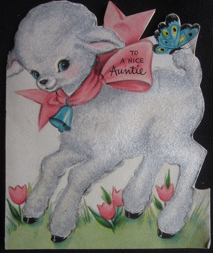 Vintage Happy Easter Greeting Card Flocked Lamb and Butterfly Hallmark