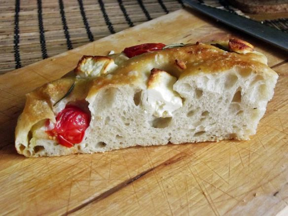Sourdough yeast-boosted focaccia.