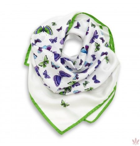 Butterfly Summer Dream Square Green White Scarf. Luxury high quality made in Italy by Fulards free shipping.