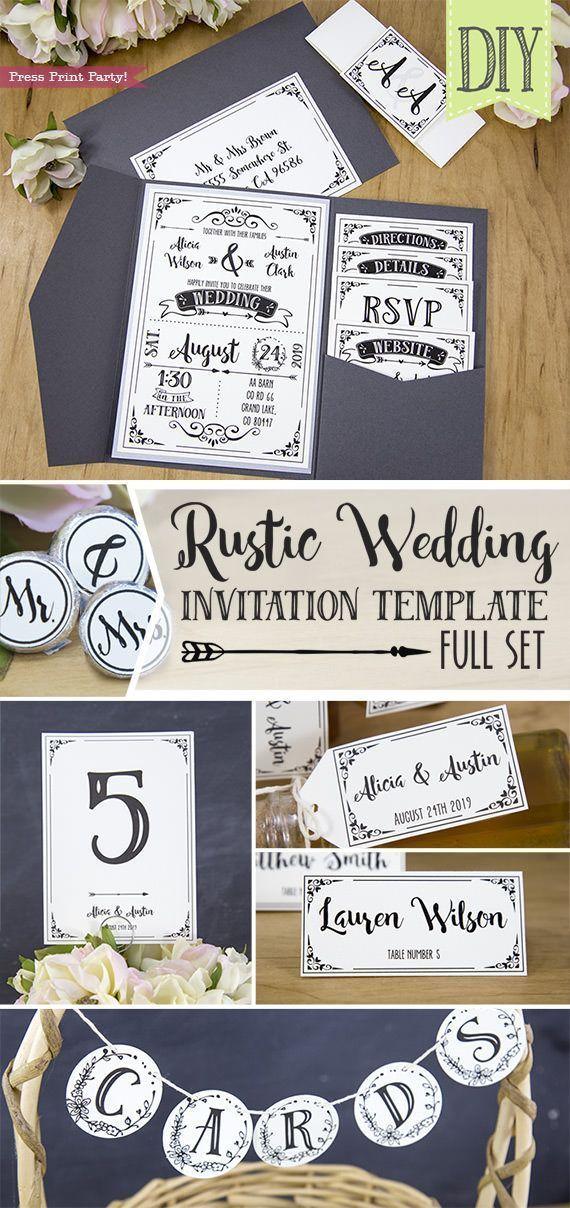 Rustic Wedding Invitation Template DIY Press