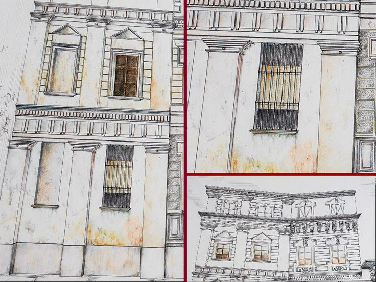 """""""Casa Bossi"""" by Alessandro Antonelli - perspective -Indirect relief - Detail #2 -Ink and coloured pencils on paper"""