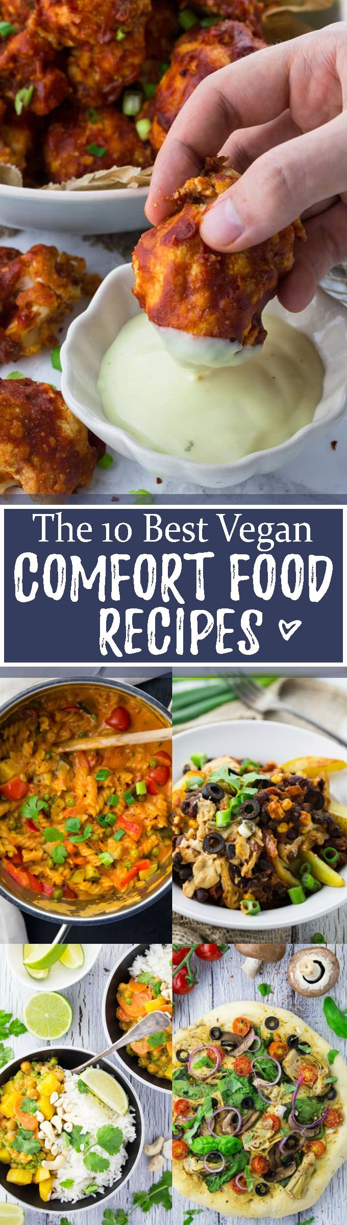#Vegan Sometimes we just need some delicious comfort food! Isn't it nice to come home after a long and hard day and enjoy a yummy and comforting meal?! This roundup includes some of my favorite vegan comfort recipes like vegan one pot pasta, lasagna, vegan pizza, vegan curry, vegan chili cheese fries, and cauliflower wings. Big YUM!! <3 | veganheaven.org