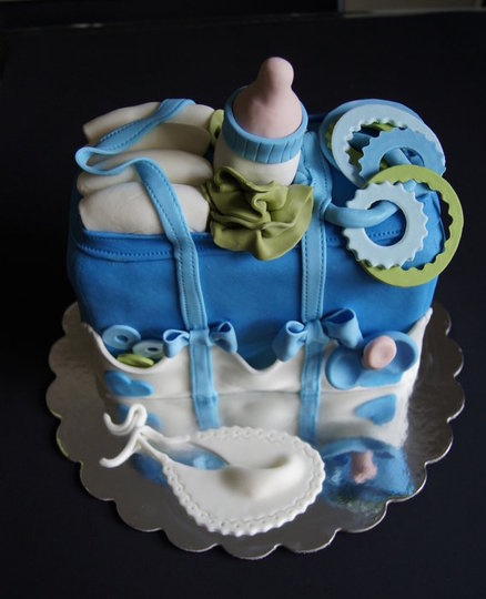 Baby shower cake , Diaper bag