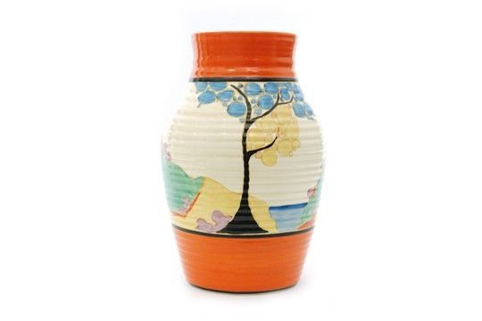 CLARICE CLIFF 'SEVEN COLOUR SECRETS' ISIS VASE  A Clarice Cliff 'Seven Colour Secrets' full size Isis Vase sold at Fieldings' Decades of Design Auction today for a £1400 hammer price against a well judged £1200-1500 estimate.  The auctioneers did not report any condition issues other than two small pin head scuffs to the orange banding.  The vase dates to c1932.  3 March 2018