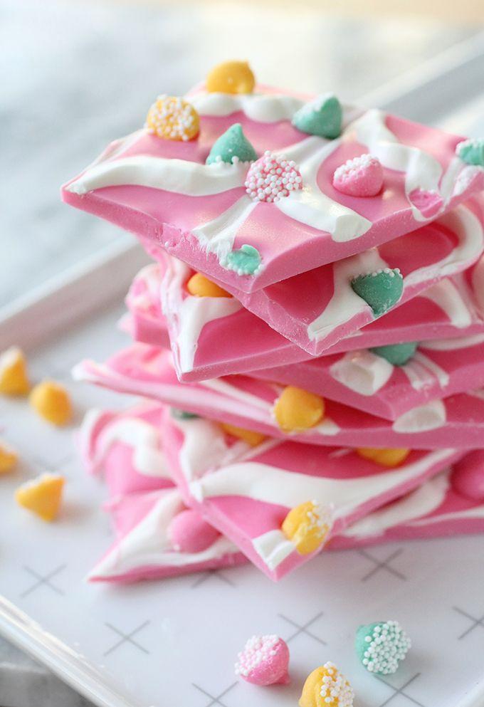 » DIY EATS | Pink Mint Chip Chocolate Bark