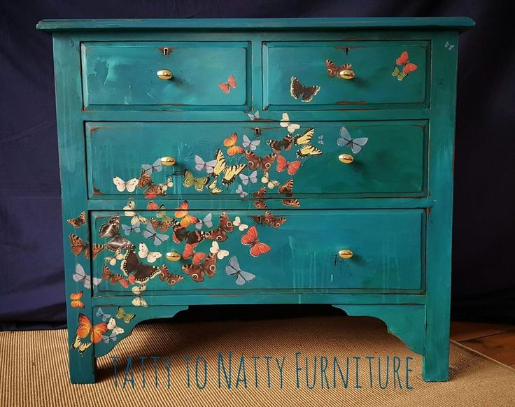 CHEST OF DRAWERS painted DECOUPAGE teal BUTTERFLIES sideboard SHABBY CHIC kids   Home, Furniture & DIY, Furniture, Chests of Drawers   eBay!