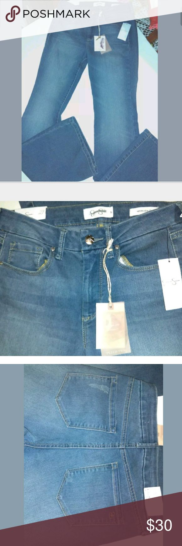 """Jessica Simpson Uptown Slim Flare Light Blue Jeans Brand new Jessica Simpson Uptown Slim Flare Light Blue Jeans. """"Ultra Slimming, Flawless Fit, Soft Sculpt"""" design. Size 27 Flare pant legs 5 pocket style Factory Fading Factory Whiskering (Back Pockets) Button and zip fly closure Approx measurements: Rise - 9 3/4"""" Back Rise - 13 3/4"""" Leg Opening - 21"""" Inseam - 34 1/2"""" Waist - 14"""" (side to side) MSRP $69 Cotton, Viscose, Polyester & Elastane blend ***Please note*** This item has…"""
