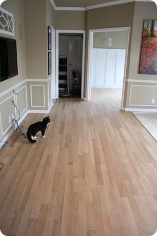 """unfinished hardwood floors: pros/cons with different types of flooring to choose from.  had hardwood floors """"finished on site"""" for a much more affordable price!  Something to consider"""