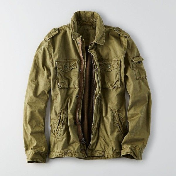 AE Military Jacket ($90) ❤ liked on Polyvore featuring men's fashion, men's clothing, men's outerwear, men's jackets, green, mens green jacket, mens cotton jacket, mens green military style jacket, mens military jacket and mens green military jacket