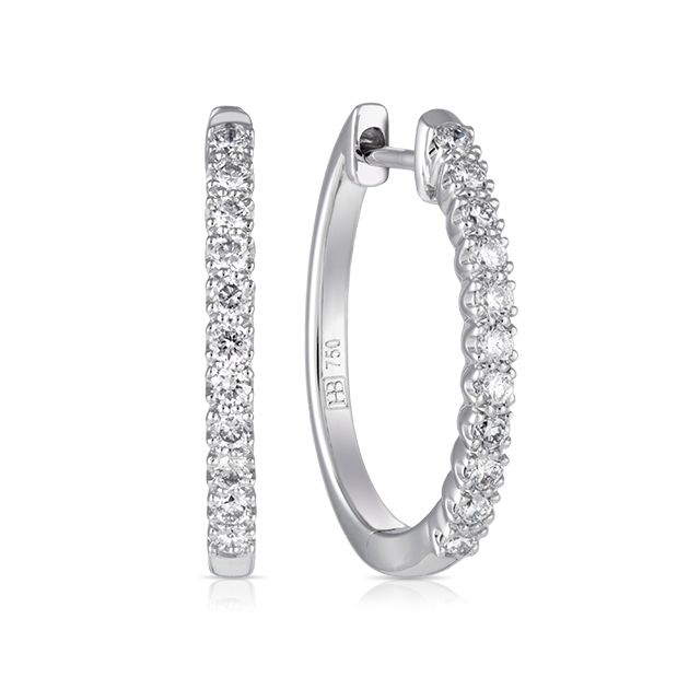 18ct White Gold Round Brilliant Cut Diamond Earring | Hardy Brothers Jewellers