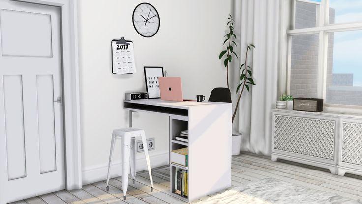 "• CB2 Public High Table/Desk • Small Black/White Prints • Digital Alarm Clock • Sarah R Bock Marble Wall Clock • Radiator Cover ( Says ""debug"" in game ) • Clipped Calendar • Curio Barstool..."