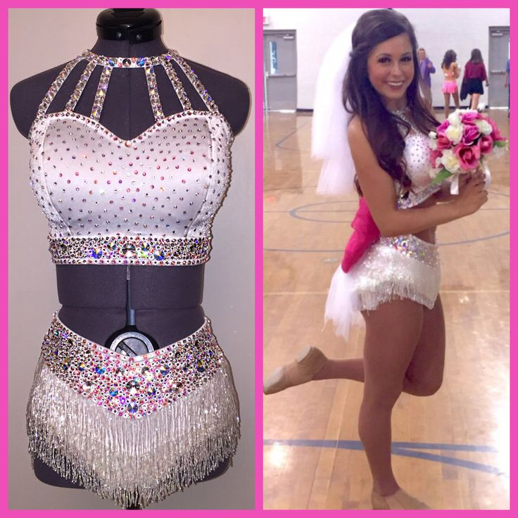 White super stretch with iridescent beaded fringe and crystal/AB Swarovski rhinestones. Wedding themed costume with removable train.