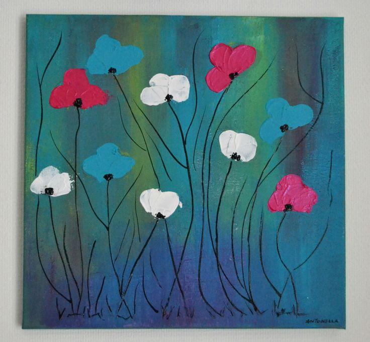 tableau moderne abstrait coloré , tableau contemporain fleur multicolore, tableau moderne fleurs : Peintures par antonella-creation