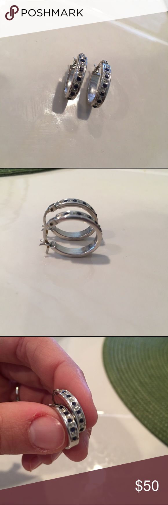 Diamond & Blue Sapphire Hoop Earrings Gorgeous earrings from Kay Jewlers! Worn a couple of times but in great condition! Kay Jewelers Jewelry Earrings
