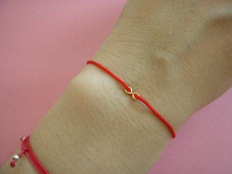 High Polished Gold Infinity Charm on Red String Bracelet by - BYAE on Etsy.. $9.00, via Etsy.