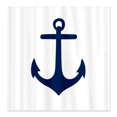 Preppy Nautical Anchor Shower Curtain