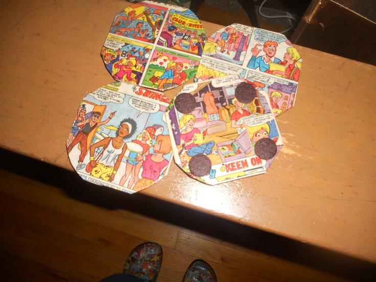 Handcrafted Coasters Made Out Of Metal And Archie Comic
