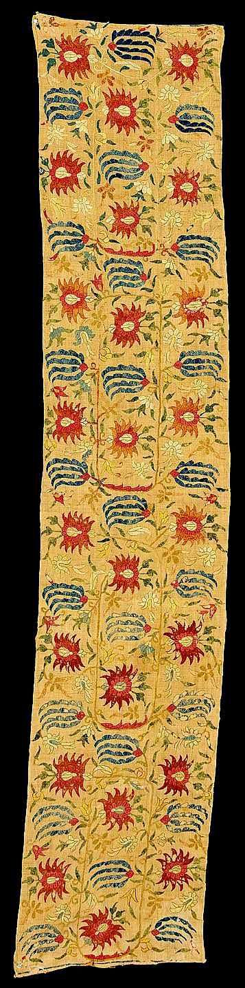 Antique Ottoman Embroidery pair of Ottoman silk embroidered panels, 18th c. ex James A. Lucas