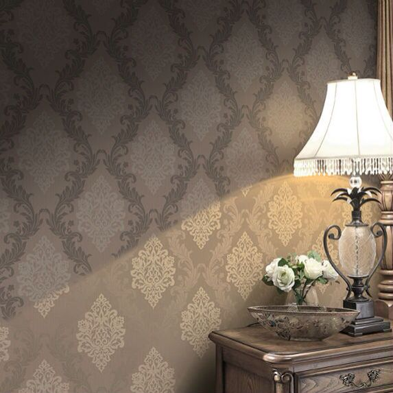 This was my 1st plan... A dark brown Damask wallpaper, frameless mirror, & chrome/crystal wall sconces