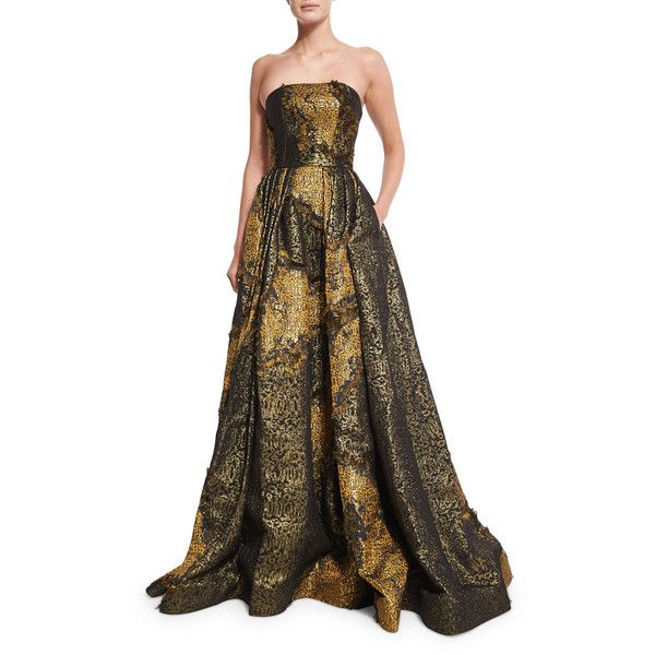 Christian Siriano Strapless Metallic Ball Gown ($7,235) found on Polyvore featuring women's fashion, dresses, gowns, gold, metallic dress, strapless dress, brown pleated dress, ball gowns and metallic evening dress