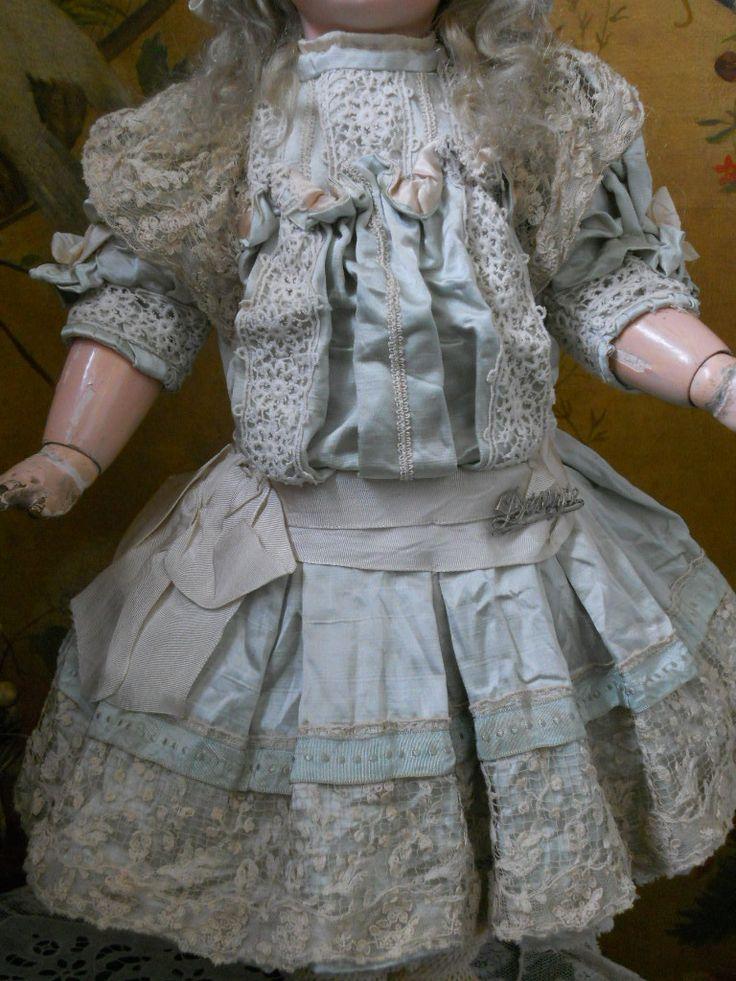 ~~~ Pretty French Aqua Silk BeBe Dress with Bonnet ~~~ from whendreamscometrue on Ruby Lane