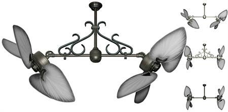 50 inch Twin Star III Double Ceiling Fan - Bombay Brushed Nickel Blades