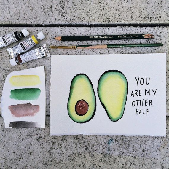 Watercolor card  avocado you are my other half by JessWeymouth