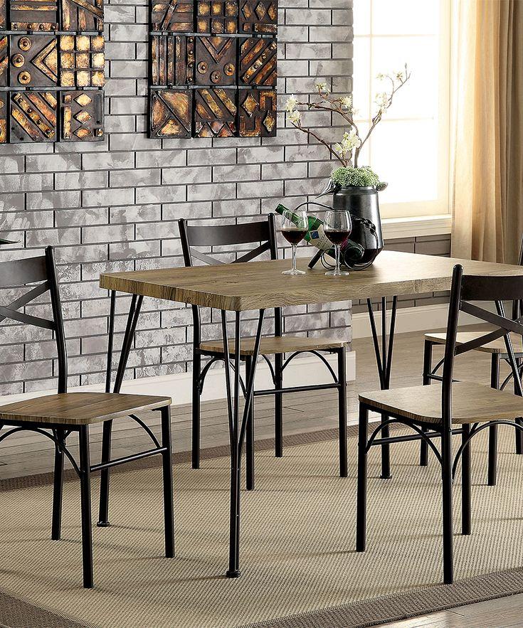 Gray & Dark Bronze Clinton Industrial Five-Piece Dining Set