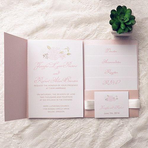 121 best pink wedding invitations images on pinterest invitation cheap spring pink flower pocket wedding invitation kits ewpi142 filmwisefo