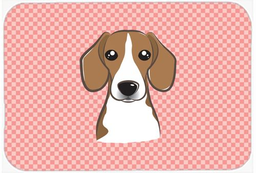 Checkerboard Pink Beagle Mouse Pad - Hot Pad or Trivet BB1239MP #artwork #artworks