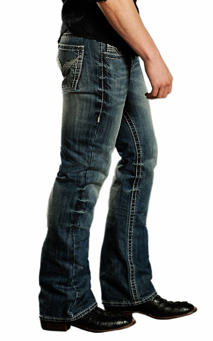 rock and roll mens jeans 34x34 slim bootcut | Rock & Roll Cowboy® Medium Stonewash Stitched V Pocket Pistol Slim ...