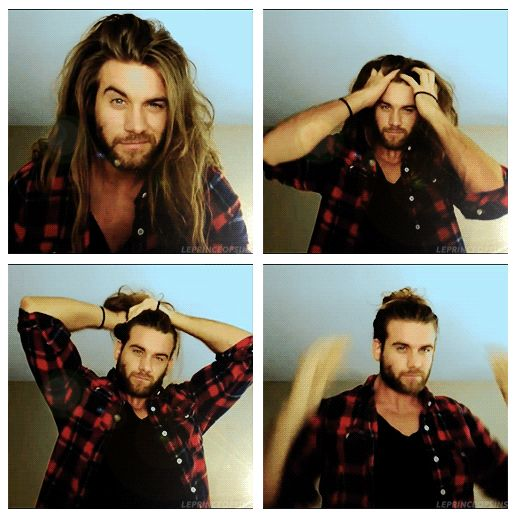 Brock O'Hurn demonstrates the man-bun. GIFset
