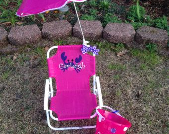 Monogrammed Kids beach chair with umbrella by southernsassbybrit