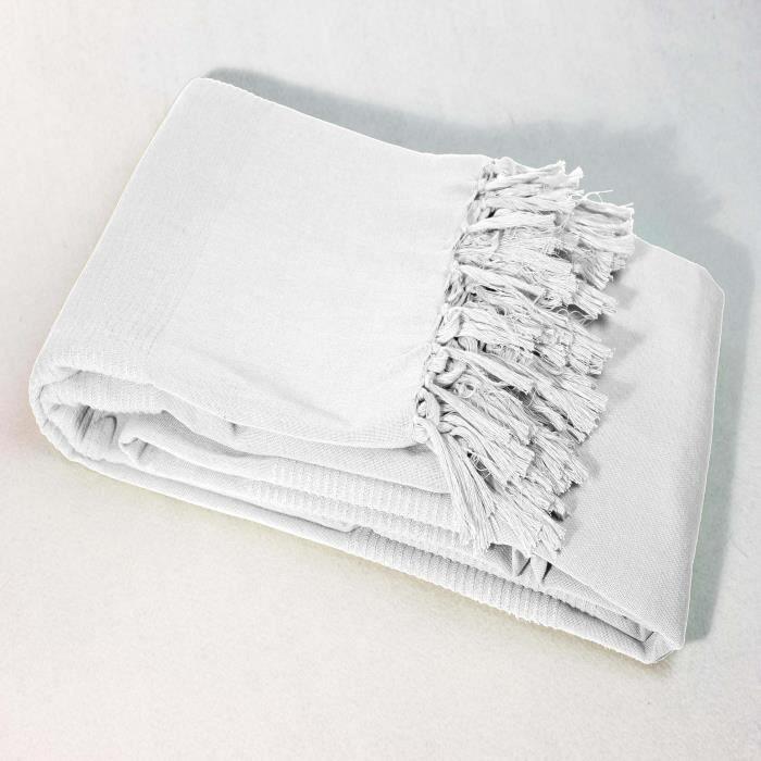 Plaid A Franges 100 Coton 180x220 Lana Blanc Avec Images Jete De Canape Couverture Canape Tapis D Entree