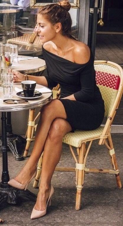 Black off the shoulder dress + nude heels.