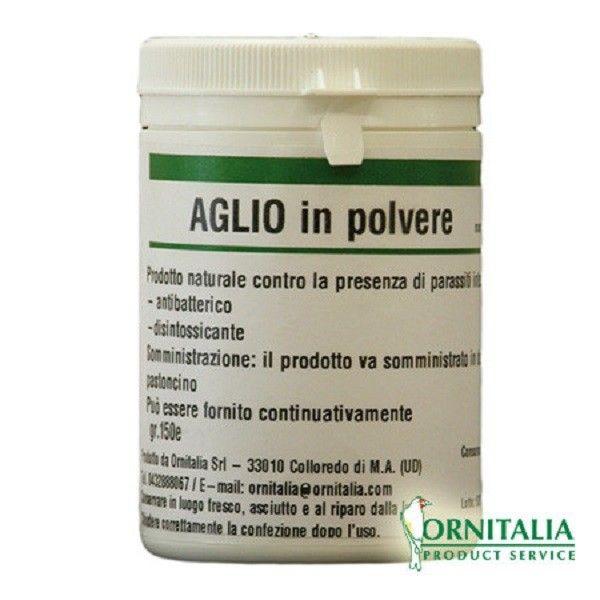 AGLIO IN POLVERE 150 GR   Prodotto naturale, l'aglio in polvere di Ornitalia, previene e combatte la comparsa di parassiti intestinali.  E' un prodotto per tutti gli uccelli da gabbia e da voliera. Confezione da 150 g.  6,30 €  https://www.pets-house.it/integratori-naturali/3995-aglio-in-polvere-150-gr-8032680421167.html