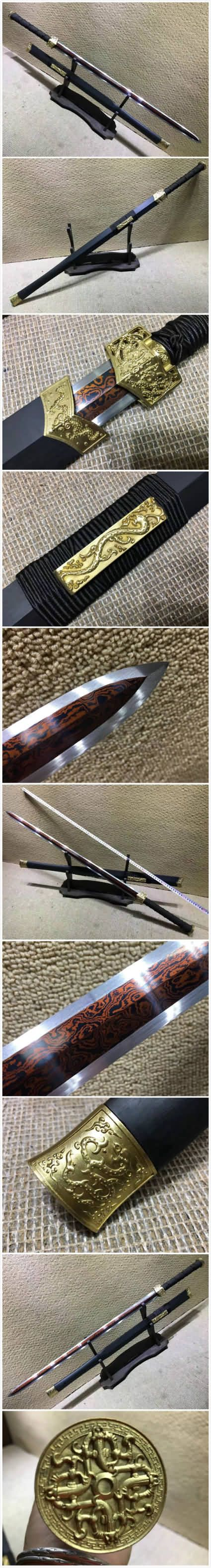 """Item Specification: Material:Damascus steel/Folded steel,Red-surface treatment; Sword Type:Hand Made Sword; Package weight:2KG; Overall Length:41""""/105cm; Blade Length:29""""/75CM; Scabbard:Black wood; Handle:Solid wood, wrapped a rope slip; Knife fitted:Brass fittings; Condition:Brand New; Origin:Longquan Zhejiang China; Accessories:Cotton sword bag. No wood stand."""