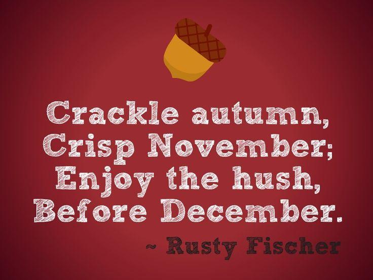 Crisp November... A Thanksgiving poem