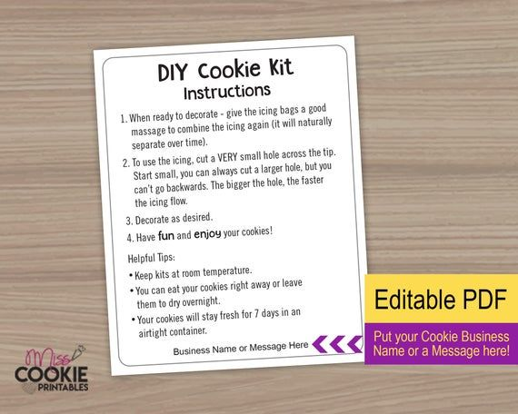Back to School DIY Cookie Kit Instructions Card 4x5 Kids Cookie DIY Decorating Kit Card New School Year Cookie DIY Activity Instructions