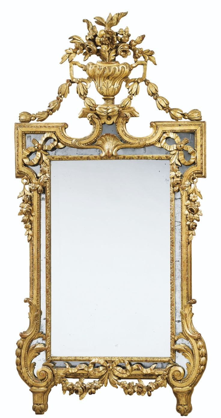 An Italian Neoclassical Giltwood Mirror Topped By A Vase