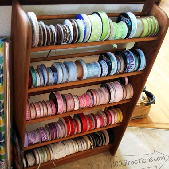 Ribbon organizing from a thrift store shoe rack... Genius!