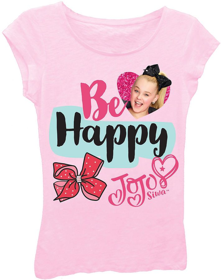 Asstd National Brand JoJo Siwa Girls' Be Happy Short Sleeve Graphic T-Shirt with Magenta Glitter. #jojo #jojosiwa #nickelodeon #girls #girlsfashion #shirt #jojoshirt #glitter #fashion #childrensfashion #jo-jo #clothes #girlsclothes #kidswear #childrenswear