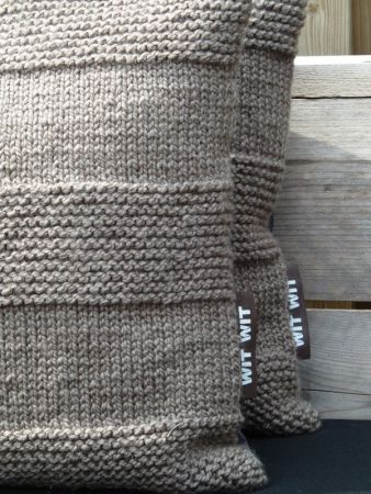 Gebreide kussenhoes bruin 45x45 cm