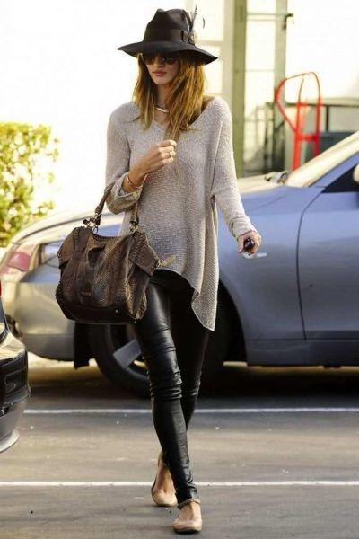Leather leggings, longer grey sweater. Add scarf.