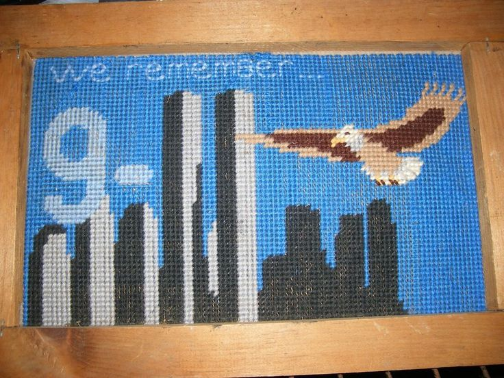We Remember 911 completed needle point