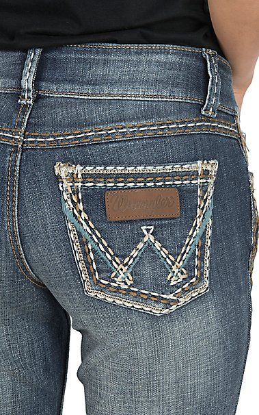 Wrangler Retro Women's Dark Wash with Open Pockets Sadie Low Rise Boot Cut Jeans   Cavender's