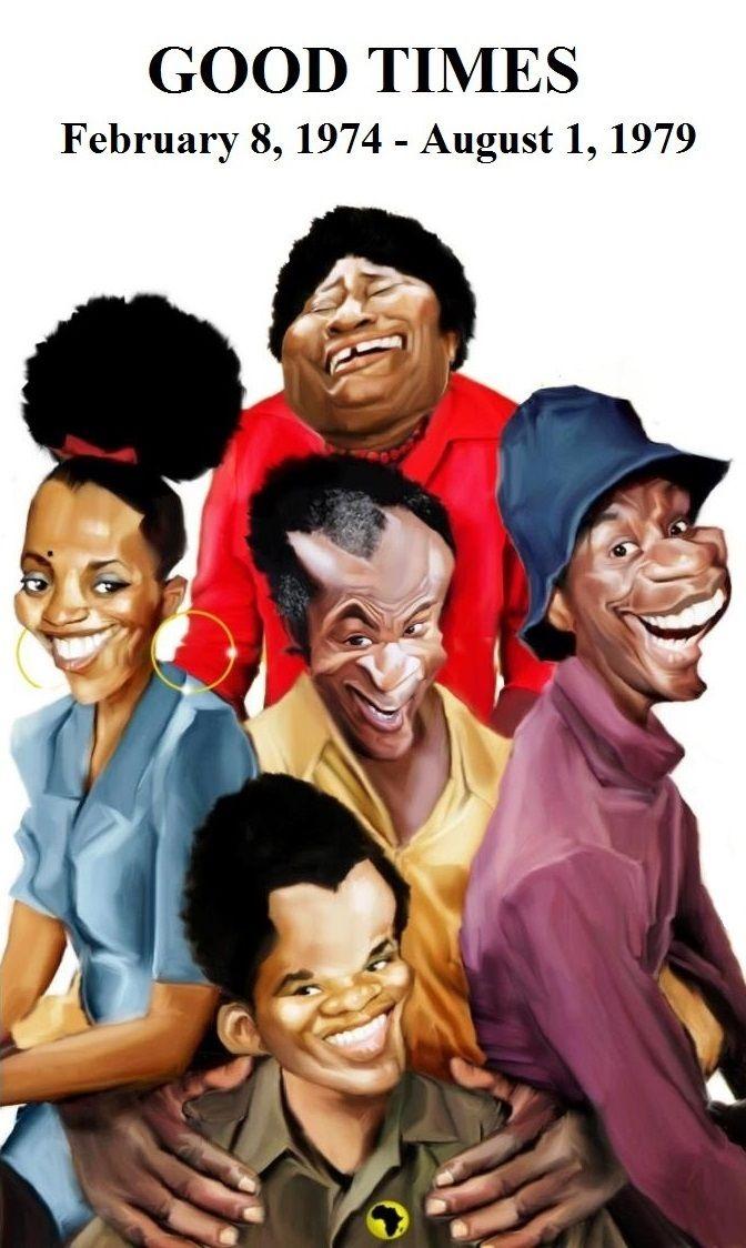 """THE EVANS FAMILY: Florida Evans (Esther Rolle), Thelma Evans (Bern Nadette Stanis), James Evans, Sr. (John Amos), James """"J.J."""" Evans, Jr. (Jimmie Walker), and Michael Evans (Ralph Carter). #Dynomite"""